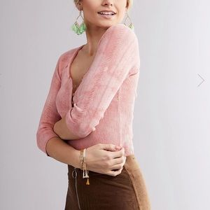 Free People Rory Henley Blouse Top Peach Pink XL